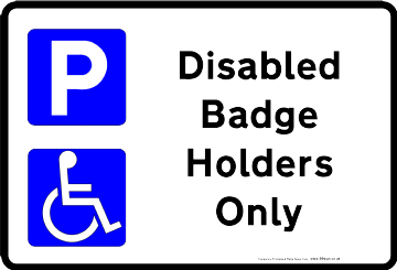 Printable Disabled Parking sign low cost vinyl or free template clipart for self Print